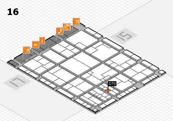 K 2016 hall map (Hall 16): stand D70
