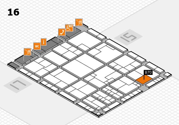 K 2016 hall map (Hall 16): stand B70