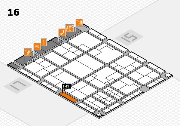 K 2016 hall map (Hall 16): stand F43