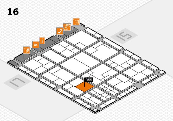 K 2016 hall map (Hall 16): stand D55