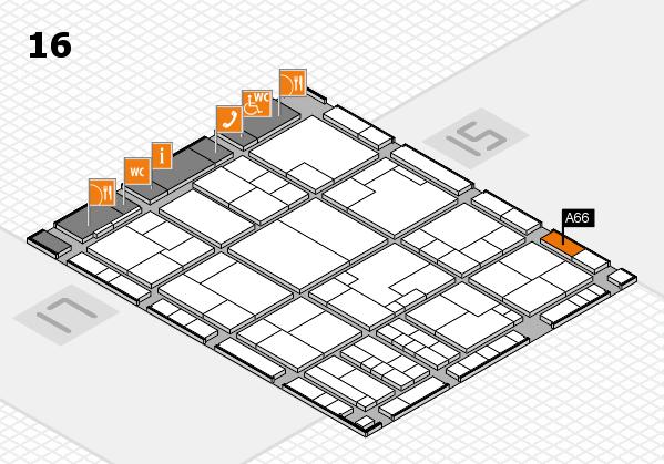 K 2016 hall map (Hall 16): stand A66