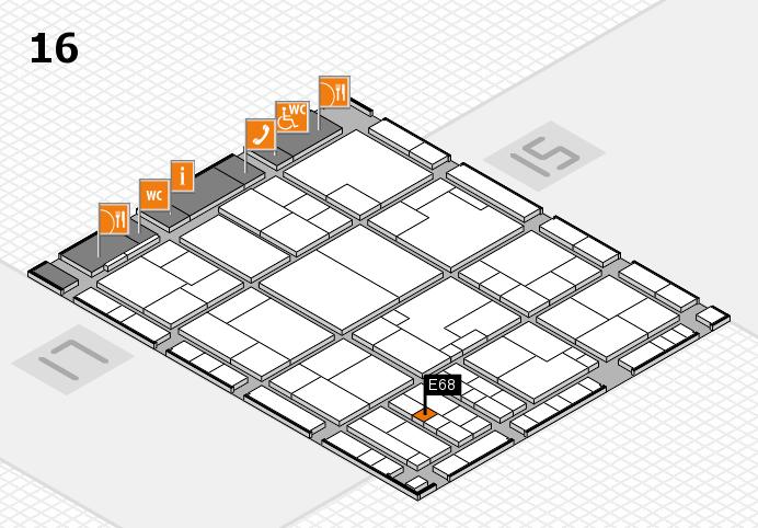 K 2016 hall map (Hall 16): stand E68