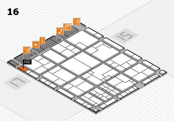 K 2016 hall map (Hall 16): stand F05