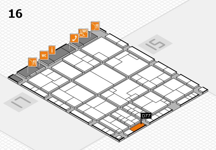 K 2016 hall map (Hall 16): stand D77