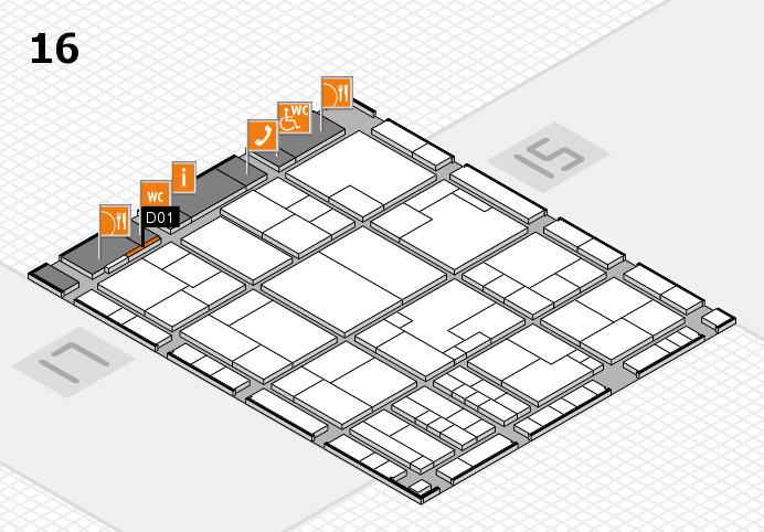 K 2016 hall map (Hall 16): stand D01