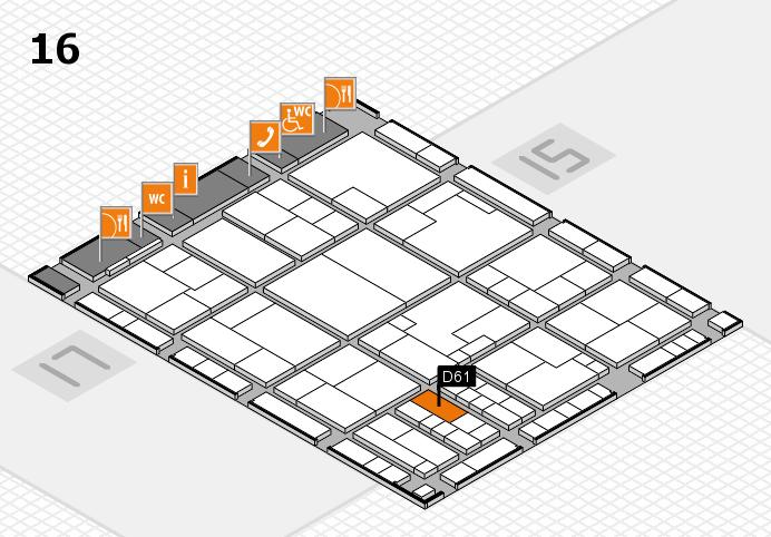 K 2016 hall map (Hall 16): stand D61
