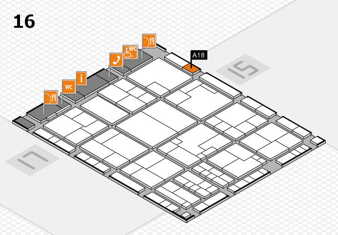 K 2016 hall map (Hall 16): stand A18