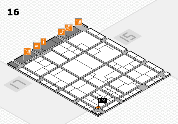 K 2016 hall map (Hall 16): stand F74