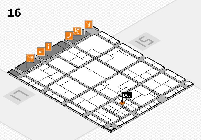 K 2016 hall map (Hall 16): stand D68