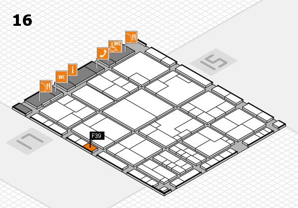 K 2016 hall map (Hall 16): stand F39