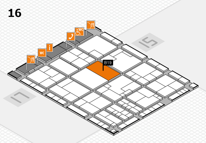 K 2016 hall map (Hall 16): stand B19