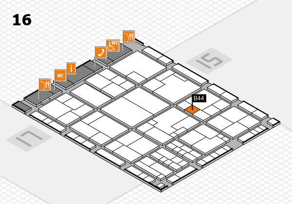 K 2016 hall map (Hall 16): stand B44