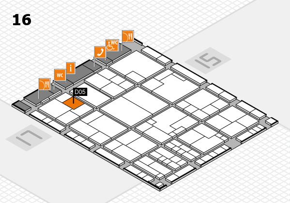 K 2016 hall map (Hall 16): stand D05
