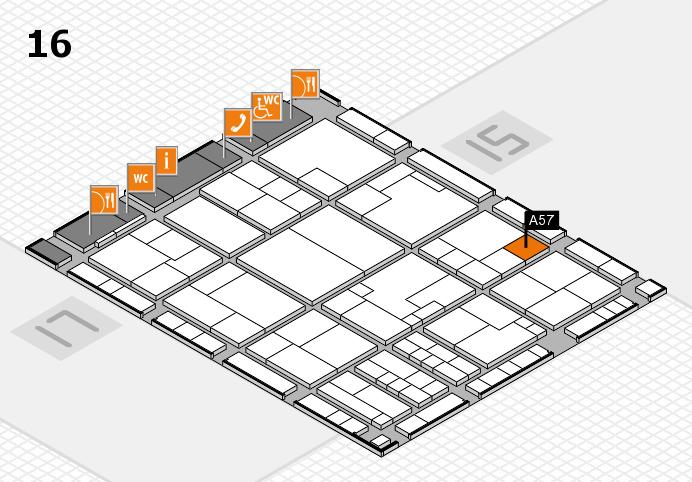 K 2016 hall map (Hall 16): stand A57