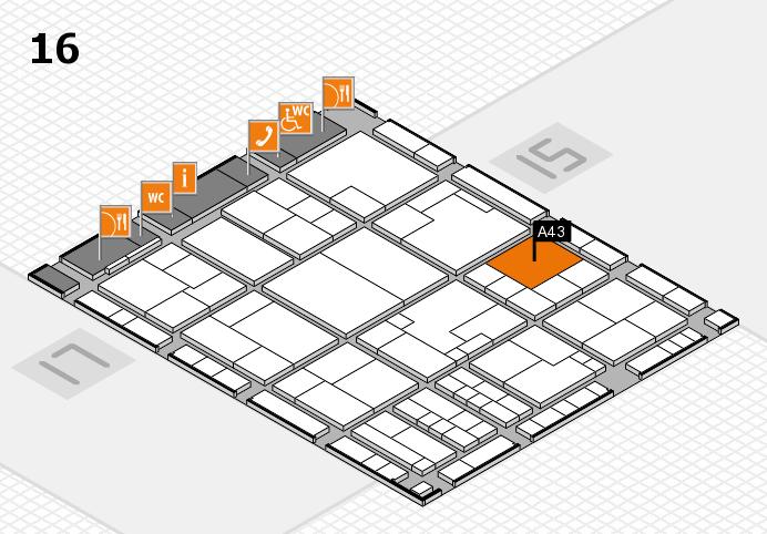 K 2016 hall map (Hall 16): stand A43