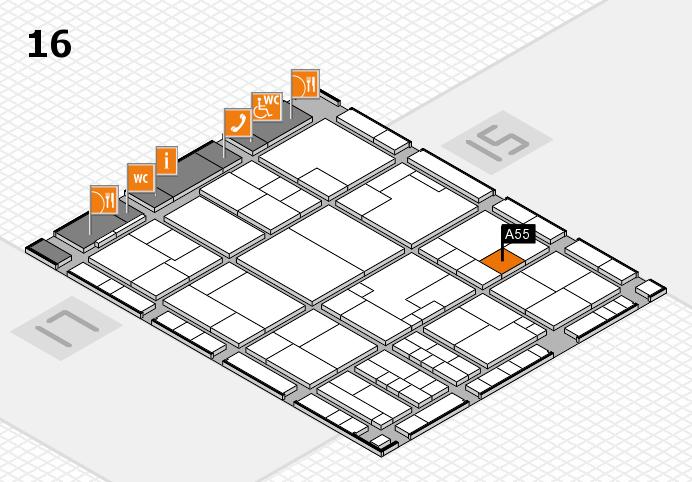 K 2016 hall map (Hall 16): stand A55