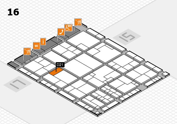 K 2016 hall map (Hall 16): stand D21