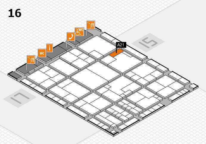 K 2016 hall map (Hall 16): stand A21