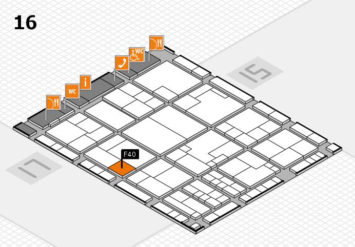 K 2016 hall map (Hall 16): stand F40