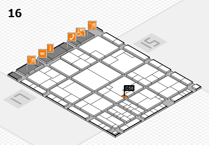 K 2016 hall map (Hall 16): stand C58