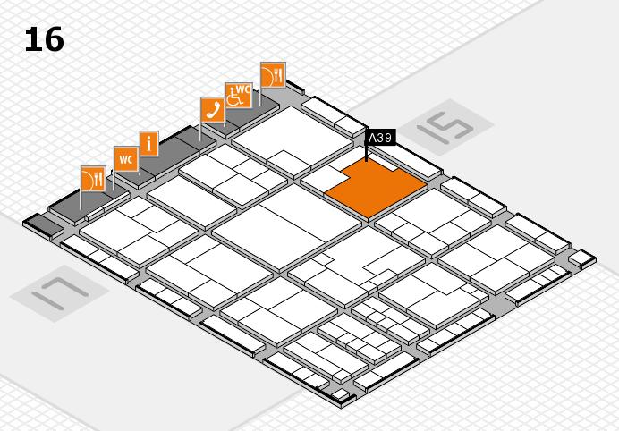 K 2016 hall map (Hall 16): stand A39