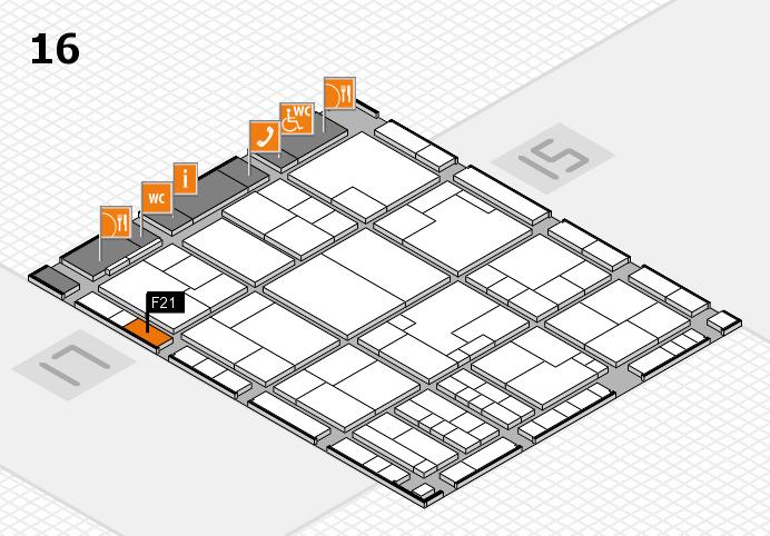 K 2016 hall map (Hall 16): stand F21