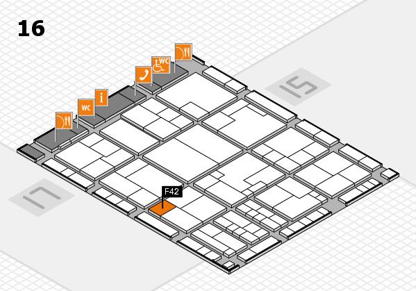 K 2016 hall map (Hall 16): stand F42