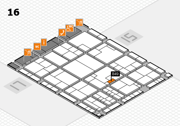 K 2016 hall map (Hall 16): stand B49