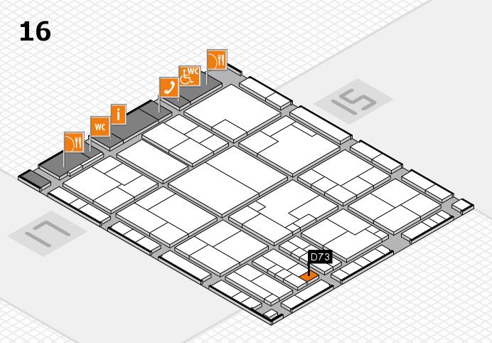 K 2016 hall map (Hall 16): stand D73