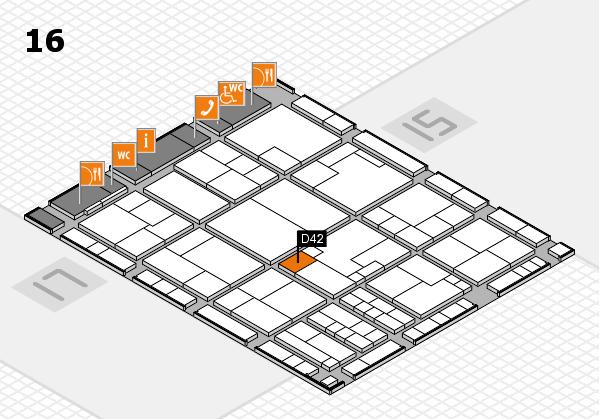 K 2016 hall map (Hall 16): stand D42