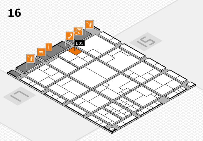 K 2016 hall map (Hall 16): stand B05