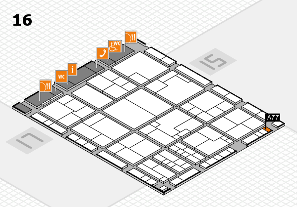 K 2016 hall map (Hall 16): stand A77