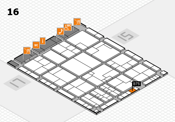 K 2016 hall map (Hall 16): stand B75