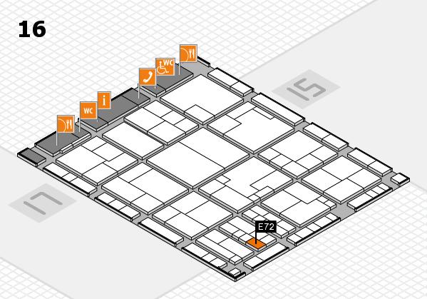 K 2016 hall map (Hall 16): stand E72