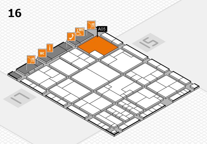 K 2016 hall map (Hall 16): stand A05
