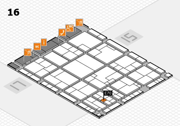 K 2016 hall map (Hall 16): stand E70