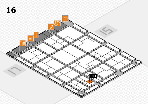 K 2016 hall map (Hall 16): stand D71