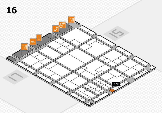 K 2016 hall map (Hall 16): stand D78