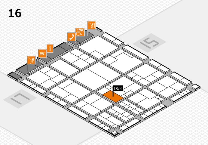 K 2016 hall map (Hall 16): stand D58