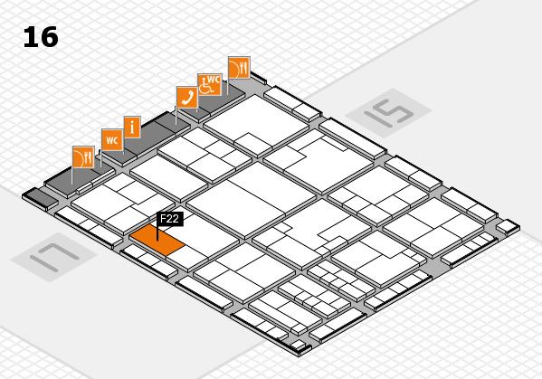K 2016 hall map (Hall 16): stand F22