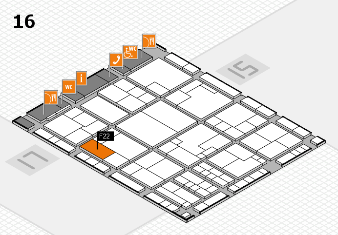 K 2016 Hallenplan (Halle 16): Stand F22