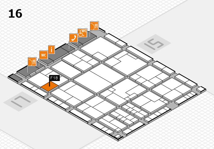 K 2016 hall map (Hall 16): stand F18