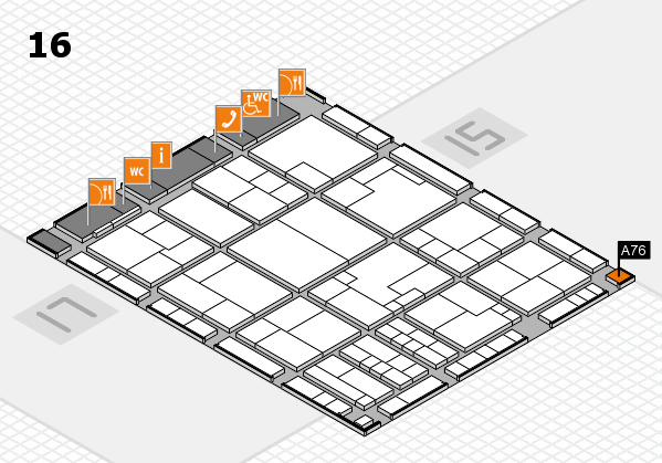 K 2016 hall map (Hall 16): stand A76