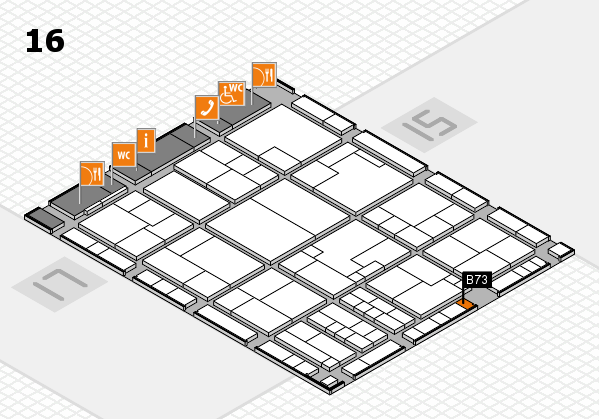 K 2016 hall map (Hall 16): stand B73