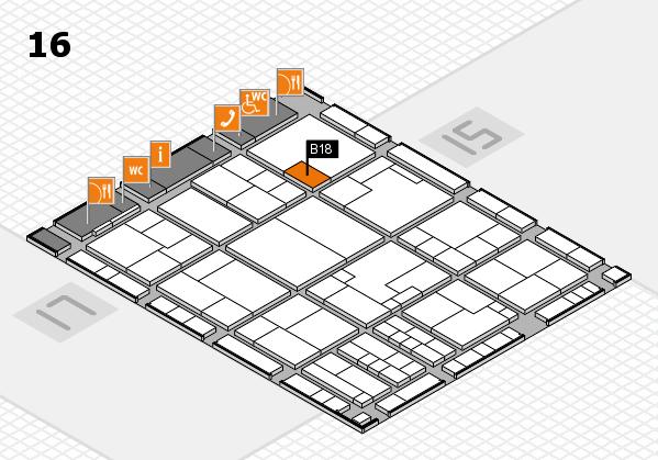 K 2016 hall map (Hall 16): stand B18