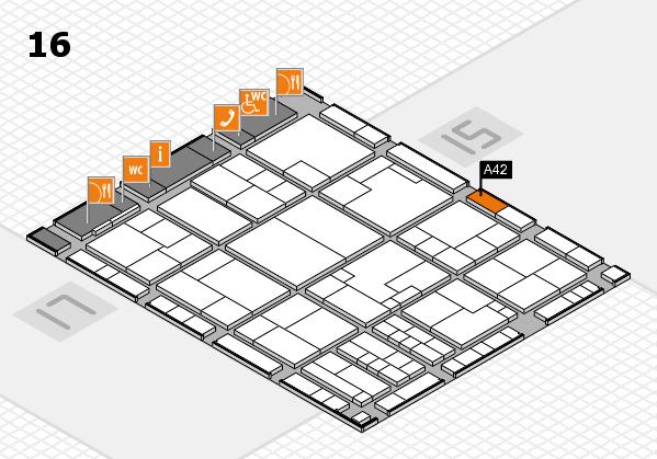 K 2016 hall map (Hall 16): stand A42