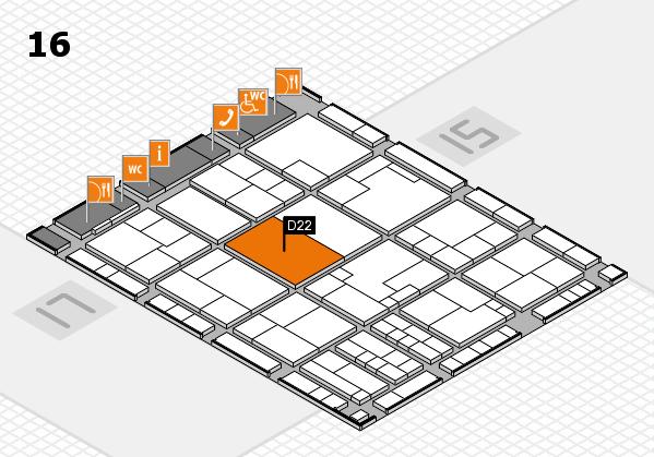 K 2016 hall map (Hall 16): stand D22