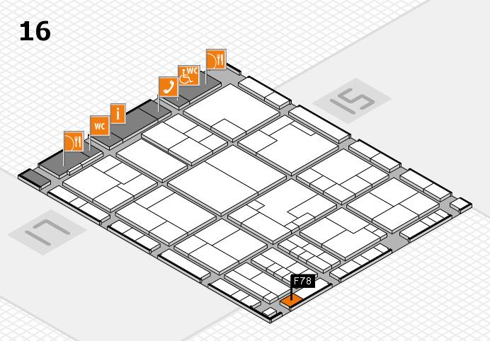 K 2016 hall map (Hall 16): stand F78