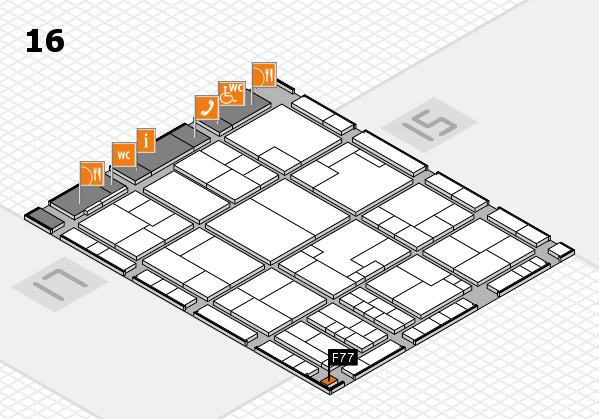 K 2016 hall map (Hall 16): stand F77