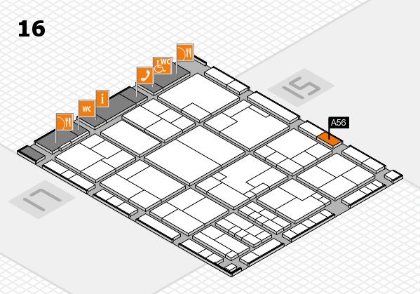 K 2016 hall map (Hall 16): stand A56
